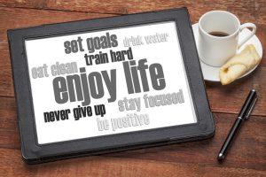 40364757 - enjoy life - healthy lifestyle word cloud on a digital tablet with a cup of coffee